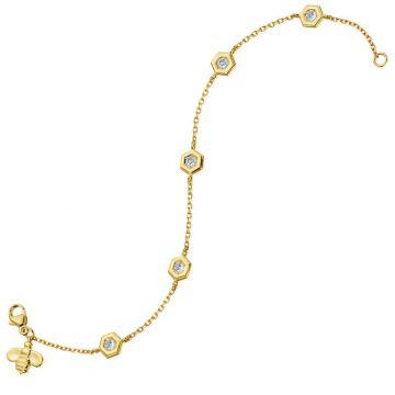 "Gumuchian Honeybee ""B"" 18k Gold Five Station Diamond Honeycomb Motif Bracelet"