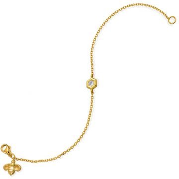 "Gumuchian Honeybee ""B"" 18k Gold Honeycomb Motif Bracelet (Medium)"