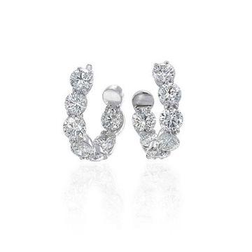 Gumuchian New Moon 18k White Gold Diamond Hoop Earrings
