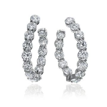 Gumuchian New Moon 18k White Gold Diamond Hoop Earrings