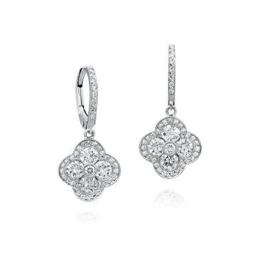 Gumuchian Fleur 18k White Gold Diamond Leverback Earrings