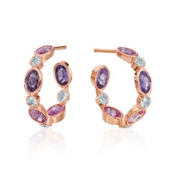Gumuchian Marbella 18k Rose Gold Diamond Sapphire Hoop Earrings