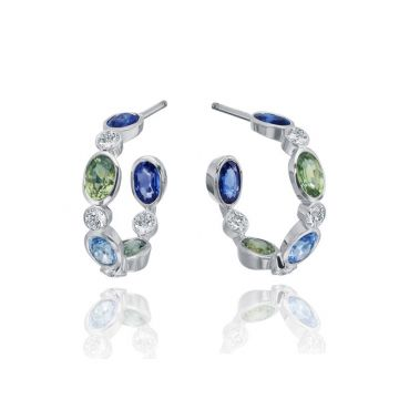 Gumuchian Marbella 18k White Gold Diamond Sapphire Hoop Earrings