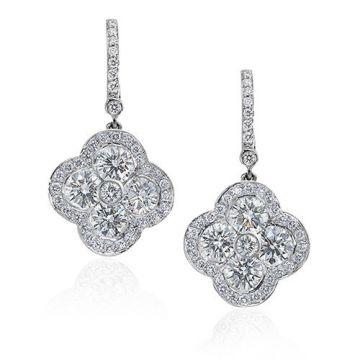 Gumuchian Fleur Platinum Diamond Drop Earrings