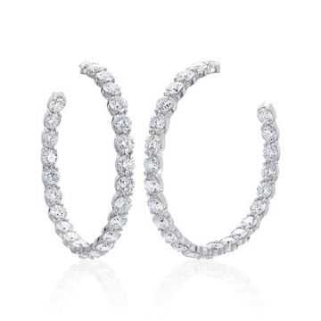 Gumuchian Cascade Riviera 18k White Gold Diamond Straight Hoop Earrings
