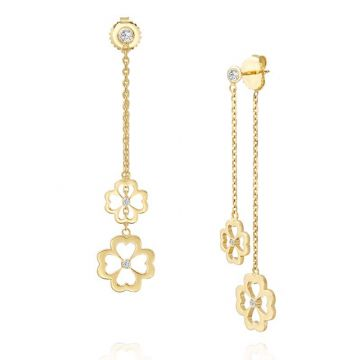 Gumuchian Kelly Mini 18k Two Tone Gold Diamond Dangle Earrings