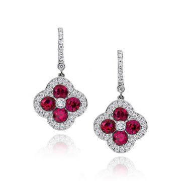 Gumuchian Fleur 18k White Gold Ruby & Diamond Leverback Earrings