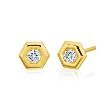 "Gumuchian Honeybee ""B"" 18k Gold Honeycomb Stud"