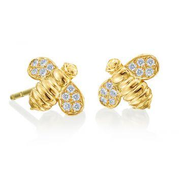 """Gumuchian Honeybee """"B"""" 18k Yellow Gold Stud Earrings"""