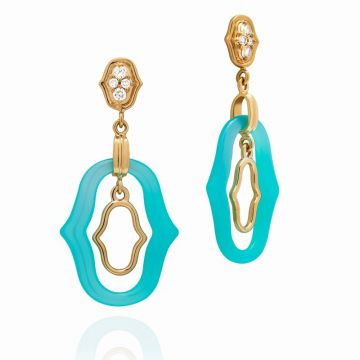 Gumuchian Secret Garden 18k Yellow Gold Blue Agate Diamond Drop Earrings