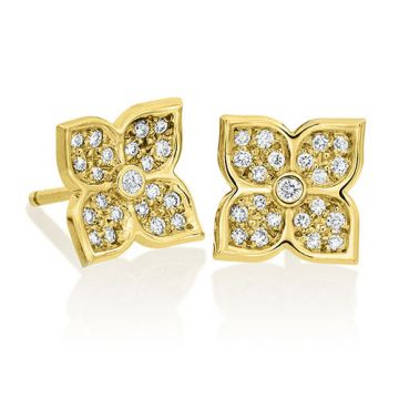 Gumuchian G. Boutique 18k Yellow Gold Diamond Lotus Earrings