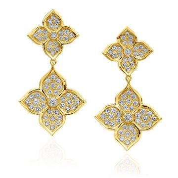 Gumuchian G. Boutique 18k Yellow Gold Diamond Lotus Drop Earrings