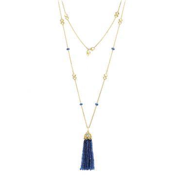 Gumuchian 18k Yellow Gold Diamond Tiny Hearts Blue Sapphire Tassel Pendant
