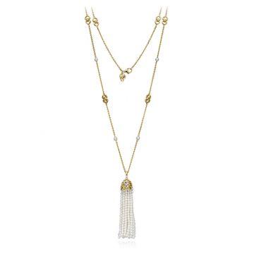 Gumuchian 18k Yellow Gold Diamond Tiny Hearts White Pearl Tassel Pendant