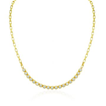 Gumuchian Moonlight 18k Yellow Gold Diamond Bezel Necklace