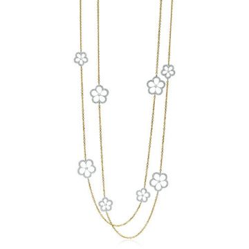 Gumuchian G. Boutique 18k Two Tone Gold Diamond Daisy Necklace
