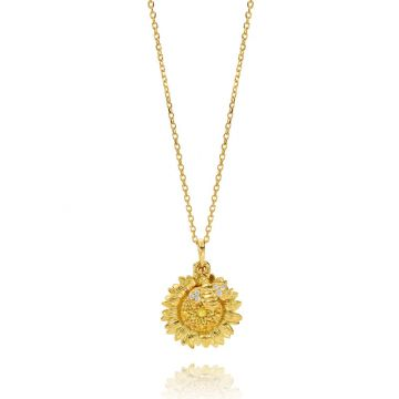 "Gumuchian Honeybee ""B"" 18k Yellow Gold Sapphire Pendant"