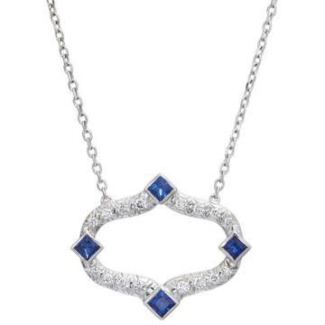 Gumuchian Secret Garden Motif 18k White Gold Blue Sapphire Pendant