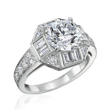Gumuchian Bridal 18k White Gold Marina Diamond Halo Semi-Mount Engagement Ring