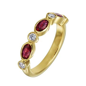 Gumuchian Marbella 18k Rose Gold Diamond Ruby Stackable Ring