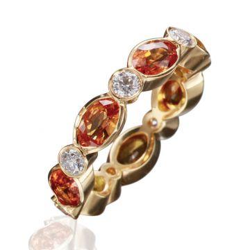 Gumuchian Marbella 18k Yellow Gold Diamond Sapphire Stackable Ring