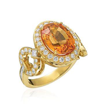Gumuchian Gallop 18k Yellow Gold Diamond Garnet Ring