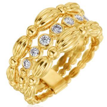 Gumuchian 18k Yellow Gold Diamond 3 Row Ring