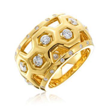 """Gumuchian Honeybee """"B"""" 18k Yellow Gold Diamond Ring"""