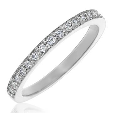Gumuchian 18k White Gold Diamond Tiny Hearts Motif Halfway Diamond Wedding Band