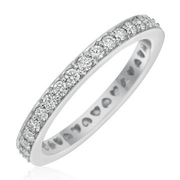 Gumuchian 18k White Gold Diamond Tiny Hearts Motif Platinum Diamond Wedding Band