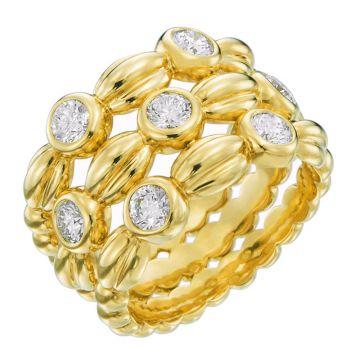 Gumuchian Nutmeg 18k Yellow Gold Alternating Diamond Three Row Ring