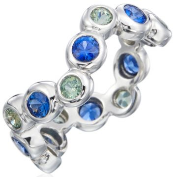 Gumuchian Moonlight 18k White Gold Zigzag Blue Sapphire Ring