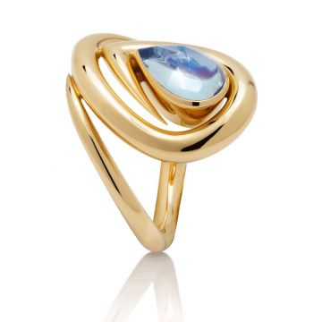 Gumuchian Maze 18k Yellow Gold Aquamarine Ring