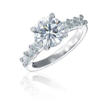 Gumuchian Twinset Platinum Six Stone Diamond Semi-Mount Engagement Ring