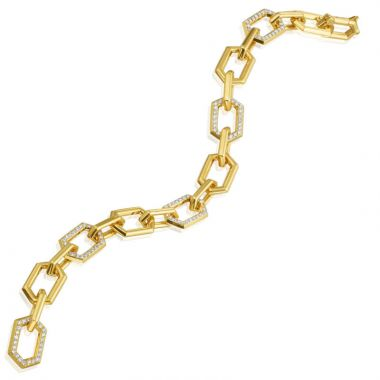"Gumuchian Honeybee ""B"" 18k Yellow Gold Diamond Bracelet"