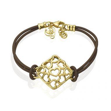 Gumuchian 18k Yellow Gold Tiny Hearts Cushion Motif Cord Bracelet