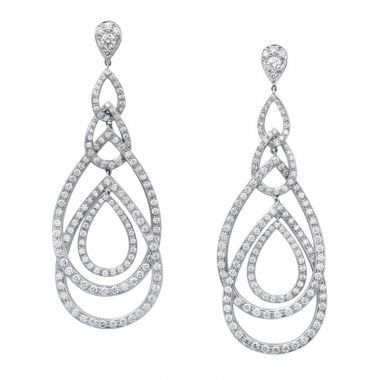Gumuchian Peacock 18k White Gold Diamond Illusion Drop Earrings