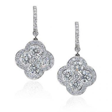 Gumuchian Fleur 18k White Gold Diamond Drop Earrings