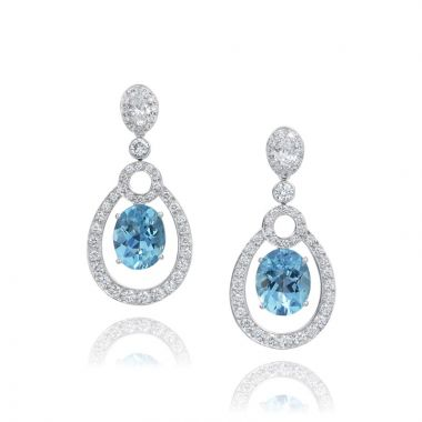 Gumuchian Carousel Convertible 18k White Gold Diamond & Aquamarine Drop Earrings