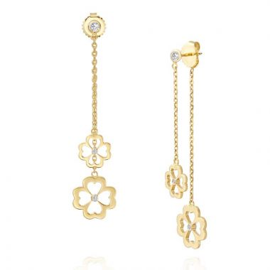 Gumuchian Kelly Mini 18k Two Tone Gold Diamond Dangle Earrings