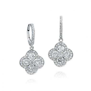 Gumuchian Fleur 18k White Gold Diamond Drop Earrings
