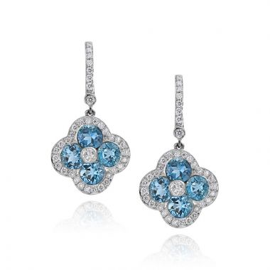 Gumuchian Fleur 18k White Gold Aquamarine & Leverback Earrings