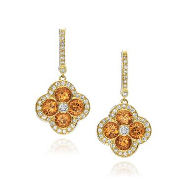 Gumuchian Fleur 18k Yellow Gold Garnet & Diamond Leverback Earrings