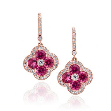 Gumuchian Fleur Platinum Diamond & Rubelite Earrings with Diamond Leverbacks