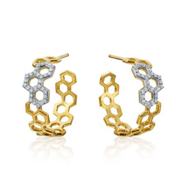 "Gumuchian Honeybee ""B"" Two Tone 18k Gold Diamond Hoop Earrings"