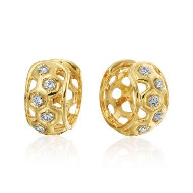 """Gumuchian Honeybee """"B"""" 18k Yellow Gold Diamond Huggie Earrings"""