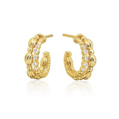Gumuchian Nutmeg 18k Gold Small Diamond Double Hoop Earrings