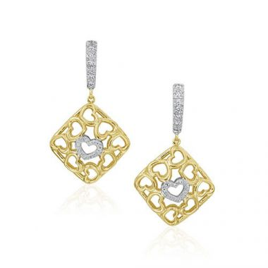 Gumuchian 18k Yellow Gold Diamond Tiny Hearts Leverback Earrings