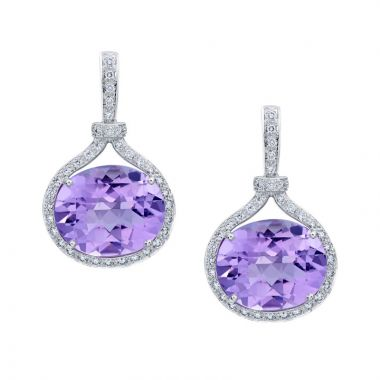 Gumuchian Gallop Equestrian 18k White Gold Amethyst Drop Earrings