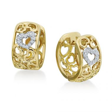 Gumuchian 18k Yellow Gold Diamond Tiny Hearts Huggie Earrings
